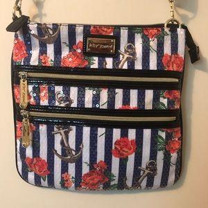 Betsy Johnson crossbody sequin nautical bag
